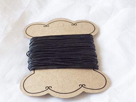 Black Waxed Cotton Cord 1mm (10 metres)