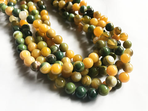 8mm Yellow Green Agate Round Beads for Jewellery Making