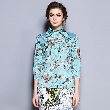 Floral Bird Print Silk Shirt
