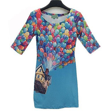 Fantasy Balloons Lifting House Harajuku Dress