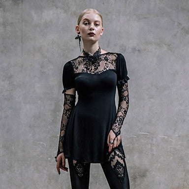 Black Lace Neck & Sleeve Blouse Top