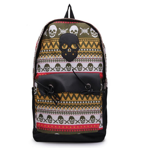 Canvas Skull Backpack