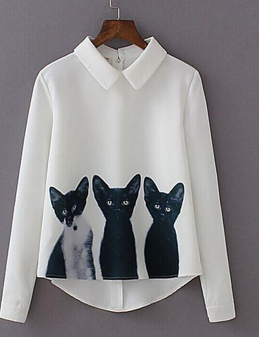 Cat Print White Shirt