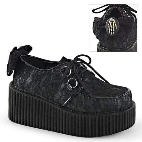 Black Lace Creepers with Skeleton Hand