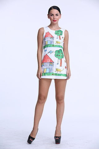 Cute Drawn House Sundress