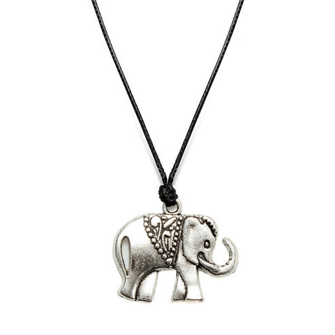 Silver Plated Elephant Leather Cord Necklace