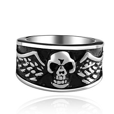 Mens Steel Skull Black Ring