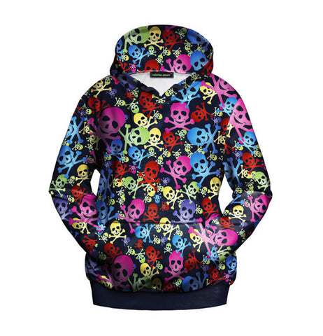 Multi Colour Skull & Crossbones Print Hoodie