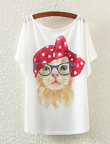 Retro Cat Print Top