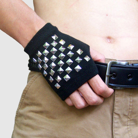 Rivet Fingerless Gloves