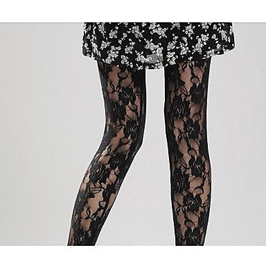 Rose Print Lace Tights