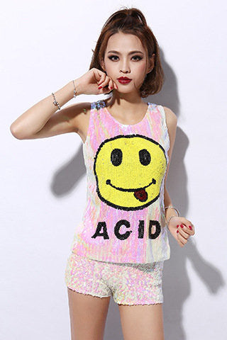 Sequin Acid Vest Top