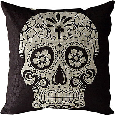 Skull Print Black Pillow Cover