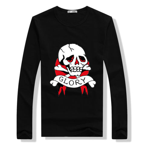 Skull Print Long Sleeve Mens Top
