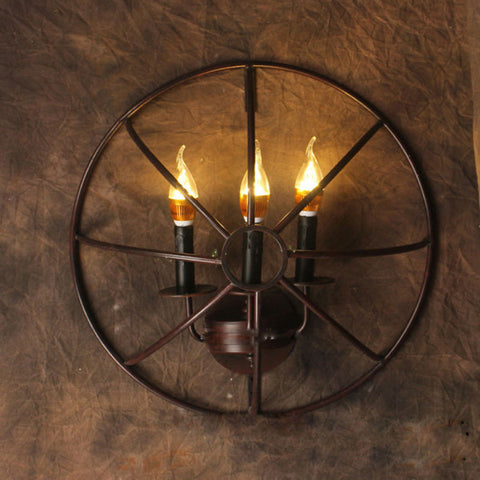 Vintage Industrial Wrought Iron Pipe Wall Light