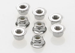 3647 Traxxas Nuts, 4mm flanged nylon locking (steel, serrated) (8)