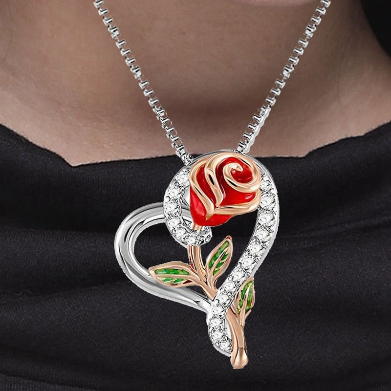 Love Heart Rose Necklace
