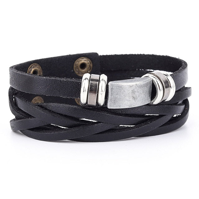 Braided Leather Wristband