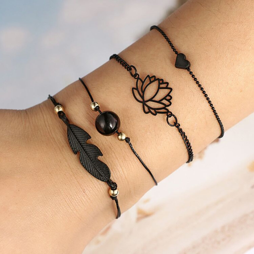 Bohemia Leaf Knot Bracelet 4 Pc/Set