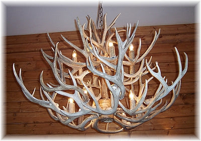34 Antler, 16 Light Large Two Tier Mule Deer Antler Chandelier