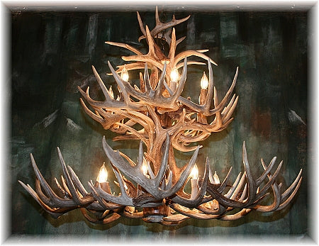 34 Antler, 16 Light Deluxe Two Tier Whitetail Antler Chandelier