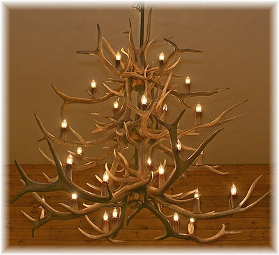 27 Antler, 24 Light Elk Antler 3 Tier Chandelier