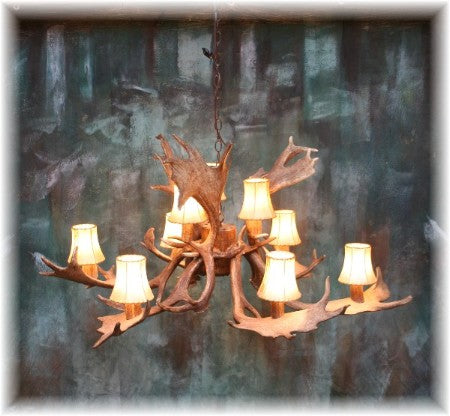 9 Antler, 9 Light Fallow Deer Antler Chandelier