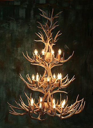 52 Antler, 24 Light Three Tier Mule Deer Antler Chandelier