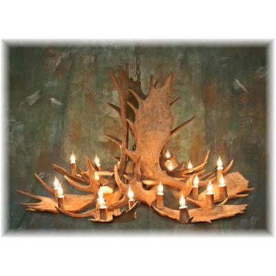 9 Antler, 18 Light Trophy Moose Chandelier with down light
