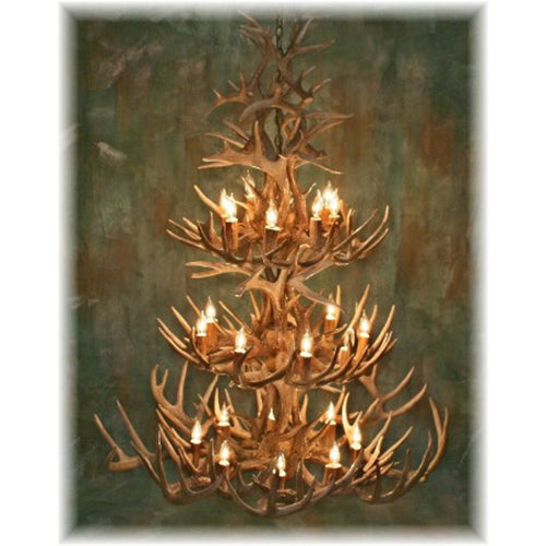 52 Antler, 24 Light Three Tier Whitetail Antler Chandelier