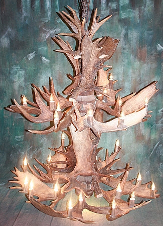 Two Tier Moose Antler Chandelier