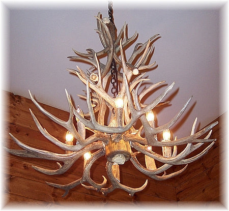16 Antler, 8 Light Large Cascading Mule Deer Antler Chandelier