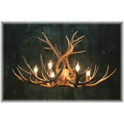 9 Antler, 6 Light Mule Deer Antler Chandelier