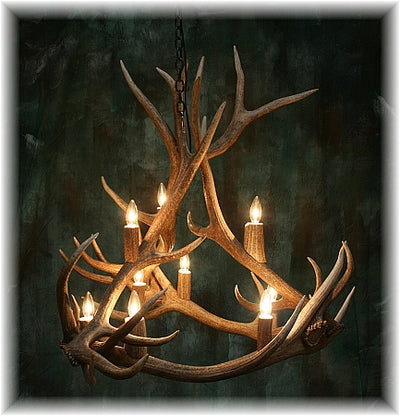 6 Antler, 9 Light Medium Elk Antler Chandelier