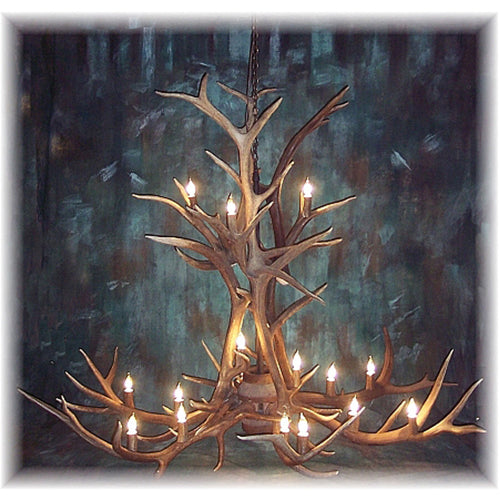 12 Antler, 18 Light Large Elk Antler Cascading Chandelier
