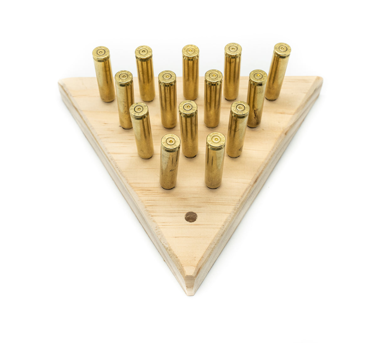 Tricky Triangle - Peg Solitaire - Bullet Peg Game Puzzle - Cracker Barrel Board Game - Wood Jumping Peg Game - Gifts For Kids