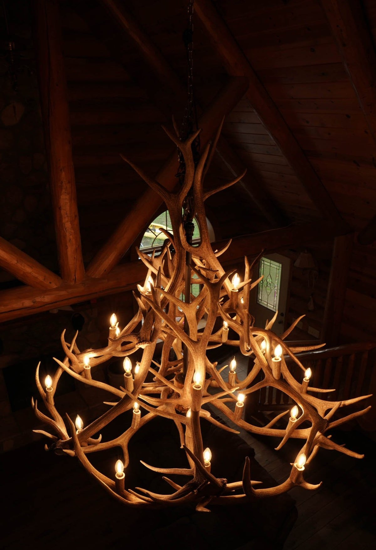 24 Antler, 27 Light Elk Antler Chandelier