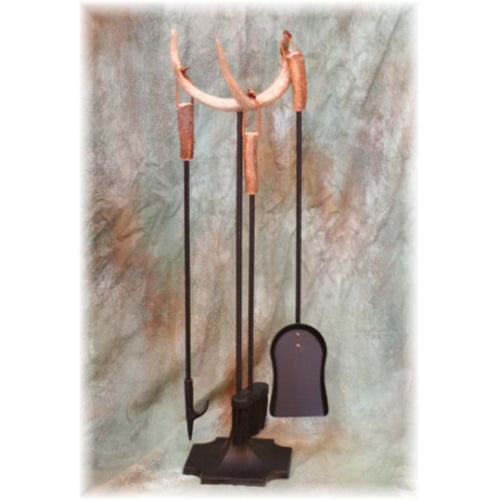 Whitetail Deer Antler Fireplace Tool Set - Includes Three Fireplace Tools: Poker, Brush and Shovel - Each With Real Antler Handles (Medium)