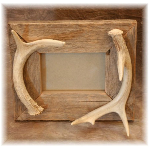 "3.5 x 5"" Rustic Picture Frame with Antler Accent"