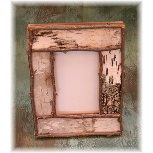 "4x6"" Rustic Birch Bark and Twig Picture Frame"