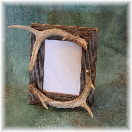 "5x7"" Rustic Barnboard Picture Frame with antler accent"