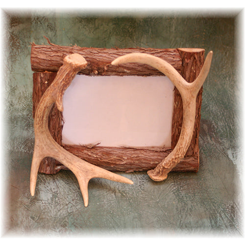 "5x7"" Rustic Cedar Twig Picture Frame with antler accent"