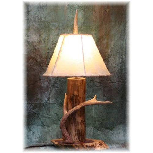 Red Cedar Log and Antler Nightstand Lamp