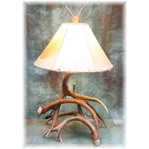 Medium 3-4 Antler Mule Deer Table Lamp