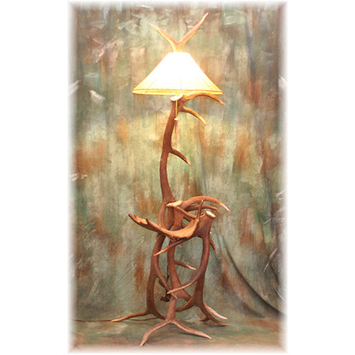 Trophy Elk Floor Lamp with Moose Antler Table