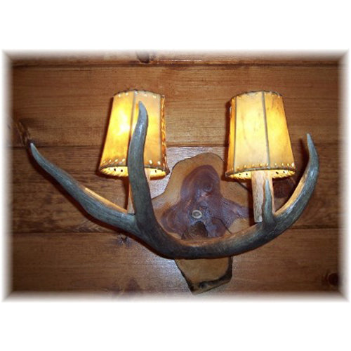 Mule Deer Antler 2 Light Sconce