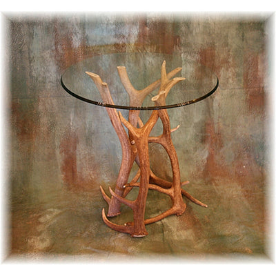 Elk Antler End Table with Glass Top