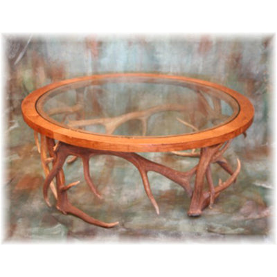 Oak and Glass Antler Coffee Table