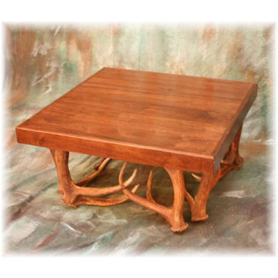 Elk Antler Coffee Table with Walnut Top