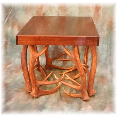 Elk Antler End Table with Walnut Top